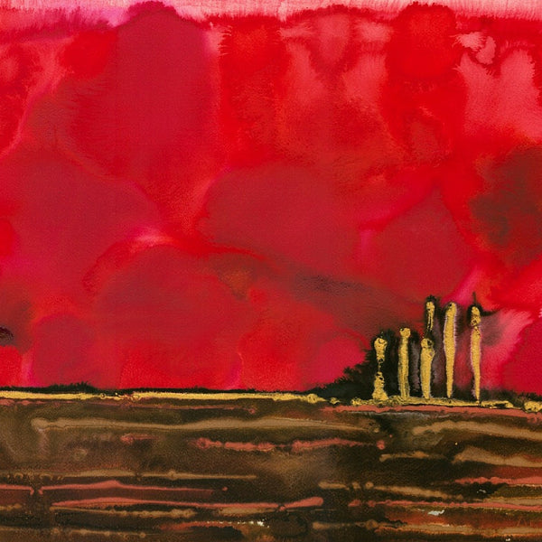 Ruby Red Night Abstract Landscape Painting