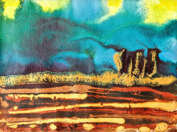 Original Landscape Colourful / Colorful Modern Contemporary Acrylic and Ink Painting Artwork - Small On The Plain - Aurora Borealis Wonder - Vera Vera On The Wall - Vera Blagev