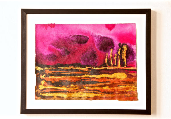 Original Landscape Colourful / Colorful Modern Contemporary Acrylic and Ink Painting Artwork - Small On The Plain - Deep Sunset - Vera Vera On The Wall - Vera Blagev