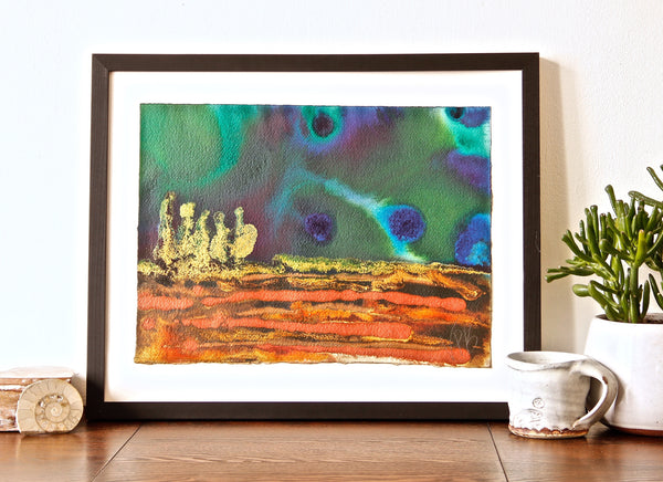 Original Landscape Colourful / Colorful Modern Contemporary Acrylic and Ink Painting Artwork - Small On The Plain - Emerald In The Sky - Vera Vera On The Wall - Vera Blagev