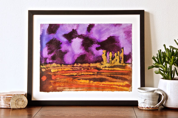 Original Landscape Colourful / Colorful Modern Contemporary Acrylic and Ink Painting Artwork - Small On The Plain - Purple Velvet - Vera Vera On The Wall - Vera Blagev