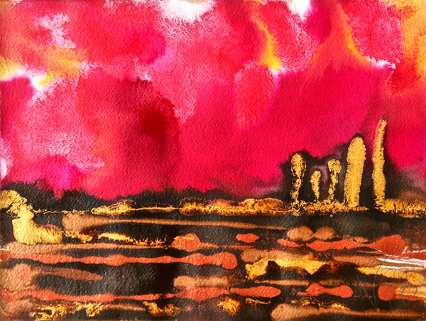 Original Landscape Colourful / Colorful Modern Contemporary Acrylic and Ink Painting Artwork - Small On The Plain - Red Love - Vera Vera On The Wall - Vera Blagev