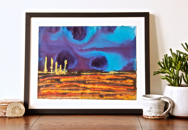 Original Landscape Colourful / Colorful Modern Contemporary Acrylic and Ink Painting Artwork - Small On The Plain - What Could Be - Vera Vera On The Wall - Vera Blagev