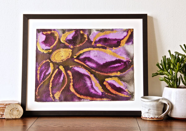 Original Floral Flower Colourful / Colorful Modern Contemporary Acrylic and Ink Painting Artwork - Small Polypetalous - Purple Dream - Vera Vera On The Wall - Vera Blagev