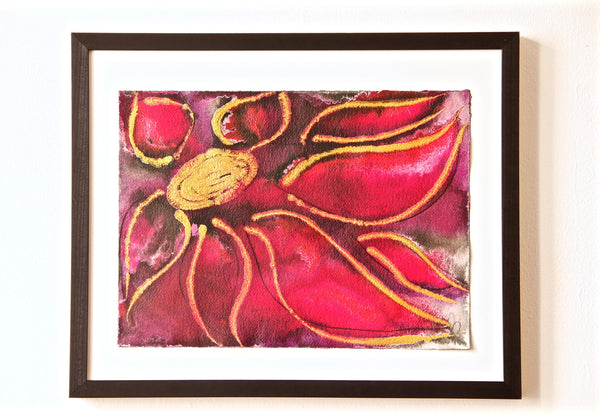 Original Floral Flower Colourful / Colorful Modern Contemporary Acrylic and Ink Painting Artwork - Small Polypetalous - Regal Fuchsia - Vera Vera On The Wall - Vera Blagev