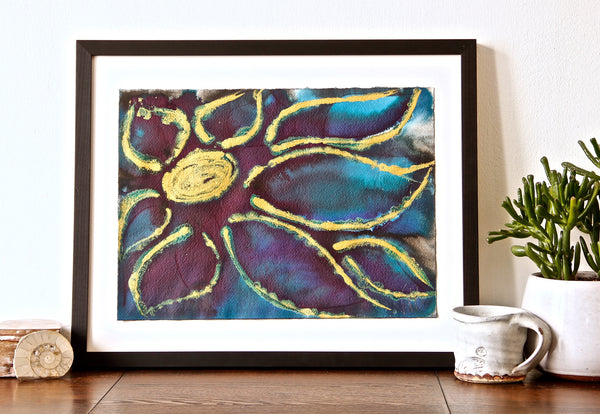 Original Floral Flower Colourful / Colorful Modern Contemporary Acrylic and Ink Painting Artwork - Small Polypetalous - The Peacock - Vera Vera On The Wall - Vera Blagev