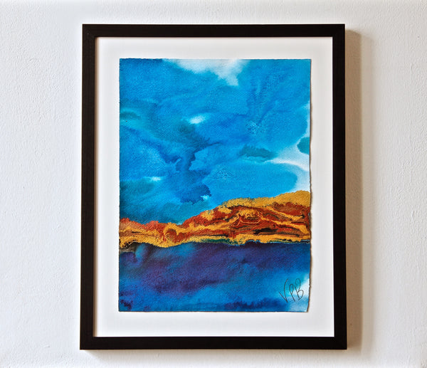 Original Seascape Landscape Colourful / Colorful Modern Contemporary Acrylic and Ink Painting Artwork - Small Seascape - In The Distance - Vera Vera On The Wall - Vera Blagev