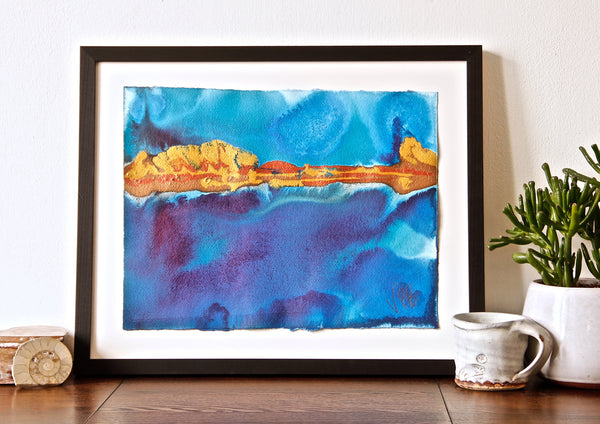 Original Seascape Landscape Colourful / Colorful Modern Contemporary Acrylic and Ink Painting Artwork - Small Seascape - The Current Pulling - Vera Vera On The Wall - Vera Blagev