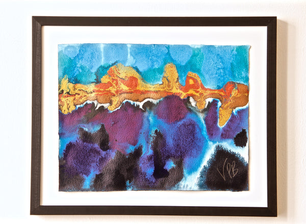 Original Seascape Landscape Colourful / Colorful Modern Contemporary Acrylic and Ink Painting Artwork - Small Seascape - Underneath - Vera Vera On The Wall - Vera Blagev