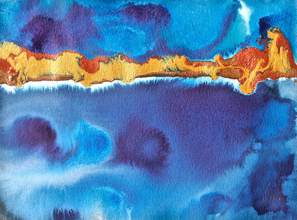 Original Seascape Landscape Colourful / Colorful Modern Contemporary Acrylic and Ink Painting Artwork - Small Seascape - Feathers - Vera Vera On The Wall - Vera Blagev