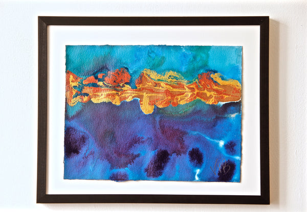 Original Seascape Landscape Colourful / Colorful Modern Contemporary Acrylic and Ink Painting Artwork - Small Seascape - Fun House Shoreline - Vera Vera On The Wall - Vera Blagev