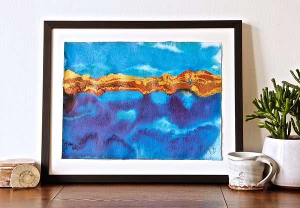 Original Seascape Landscape Colourful / Colorful Modern Contemporary Acrylic and Ink Painting Artwork - Small Seascape - Shimmering Coastline - Vera Vera On The Wall - Vera Blagev