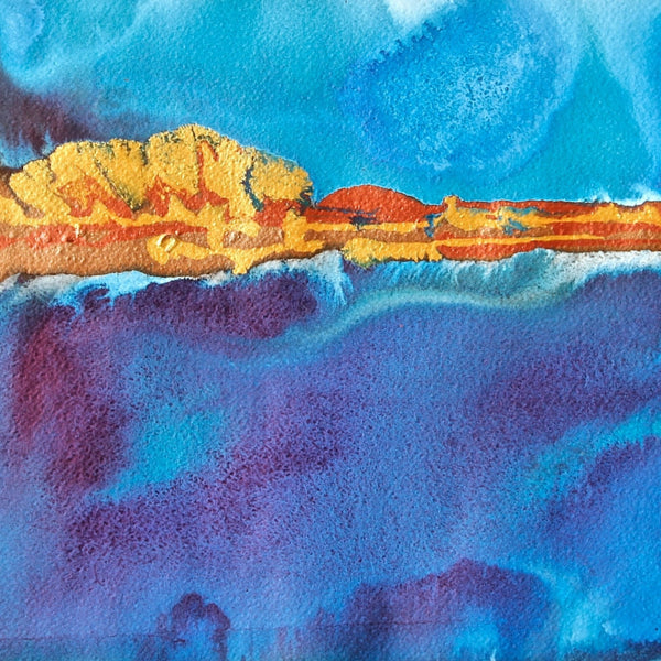 The Current Pulling Small Abstract Seascape Painting