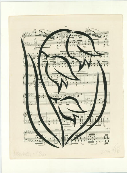 Original Handmade Floral Vintage Music Book Monochrome Art Nouveau Screenprint Flower Artwork - Bluebells - Vera Blagev - Vera Vera On The Wall