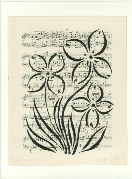 Original Handmade Floral Vintage Music Book Monochrome Art Nouveau Screenprint Flower Artwork - Bunchberry - Vera Blagev - Vera Vera On The Wall