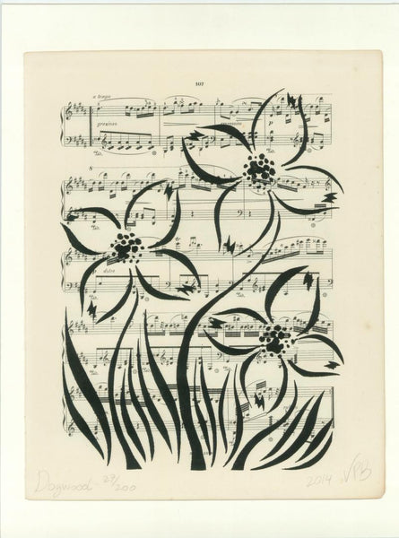 Original Handmade Floral Vintage Music Book Monochrome Art Nouveau Screenprint Flower Artwork - Dogwood - Vera Vera On The Wall - Vera Blagev