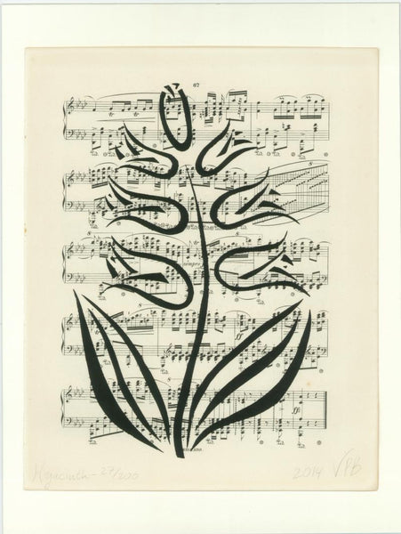 Original Handmade Floral Vintage Music Book Monochrome Art Nouveau Screenprint Flower Artwork - Hyacinth - Vera Vera On The Wall - Vera Blagev
