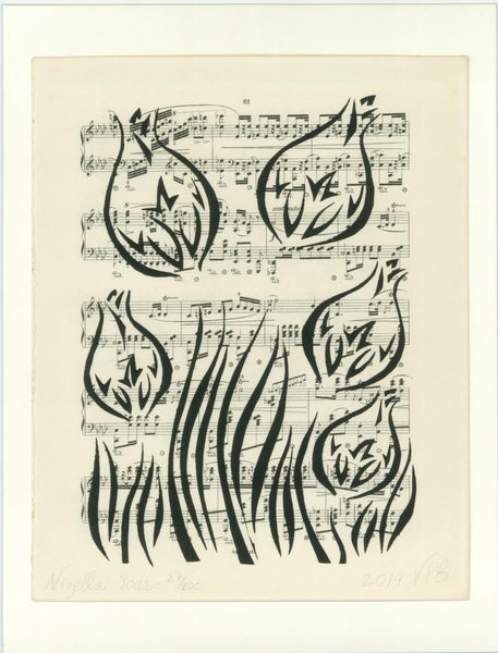 Original Handmade Floral Vintage Music Book Monochrome Art Nouveau Screenprint Flower Artwork - Nigella Pods - Vera Vera On The Wall - Vera Blagev
