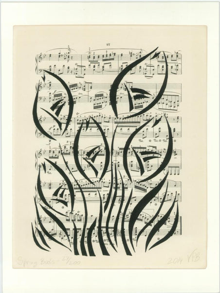 Original Handmade Floral Vintage Music Book Monochrome Art Nouveau Screenprint Flower Artwork - Spring Buds - Vera Vera On The Wall - Vera Blagev
