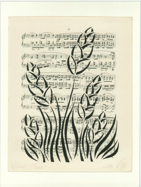Original Handmade Floral Vintage Music Book Monochrome Art Nouveau Screenprint Flower Artwork - Wheat - Vera Vera On The Wall - Vera Blagev