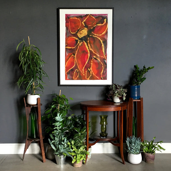 Regal Red Abstract Flower Painting