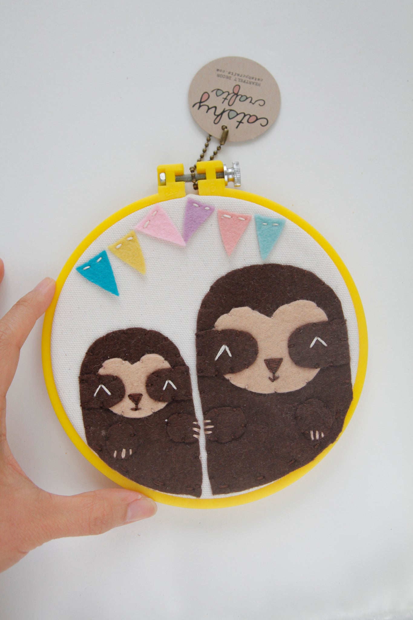 2 Sloths with Banner Embroidery Hoop Art