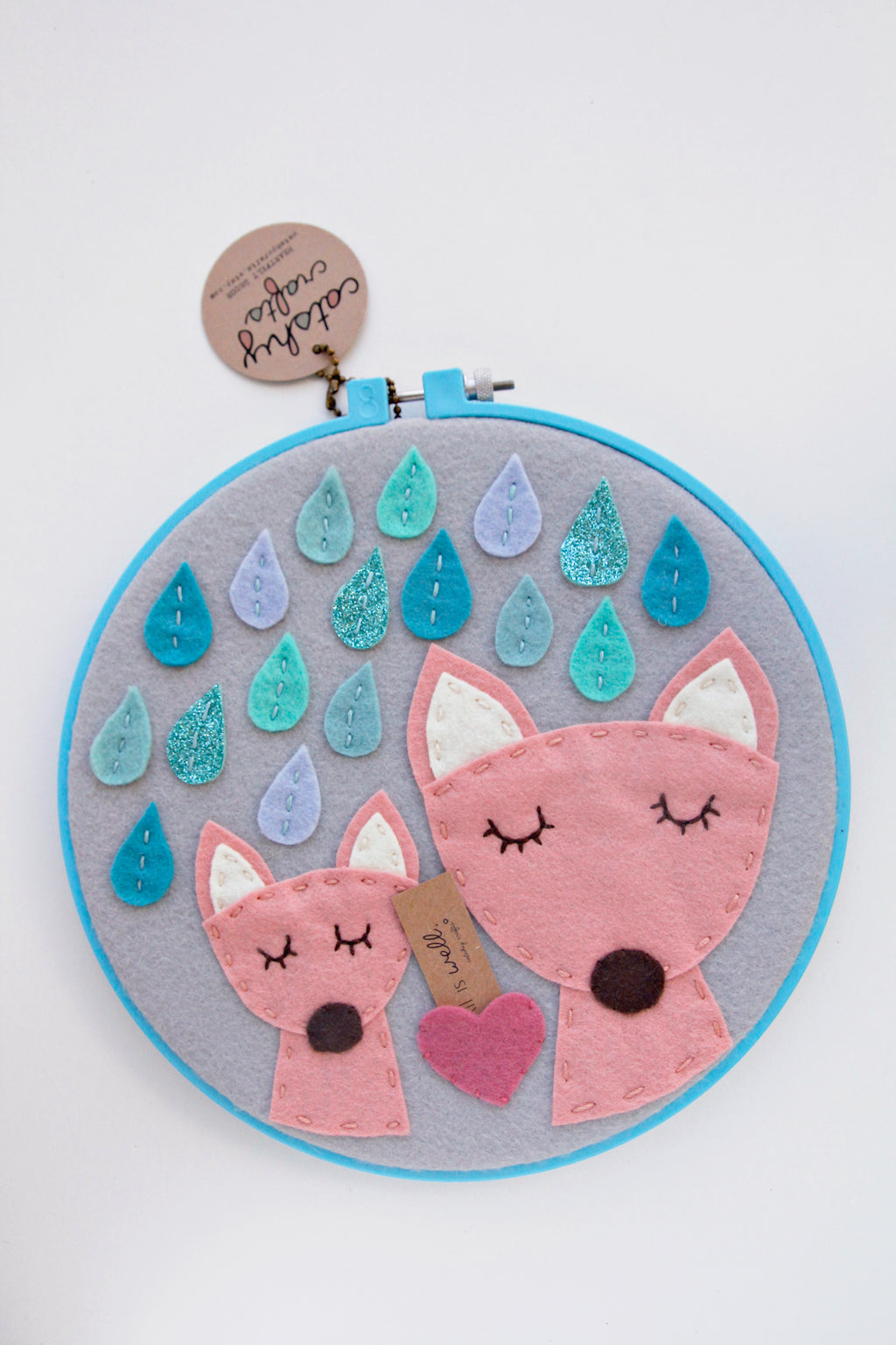 2 Foxes in the Rain in Turquoise Hoop