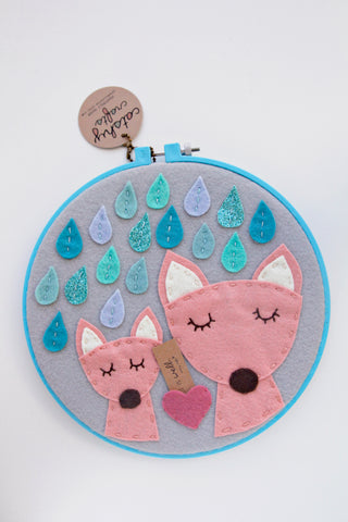 2 Foxes in the Rain in Turquoise Hoop / DCS Collection