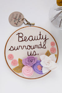 Personalized Custom Felt Flower Embroidery Hoop Art