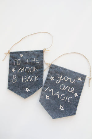 """To the Moon & Back"" Felt Banner"