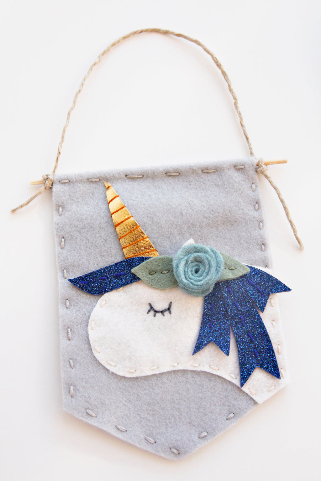 Sparkly Blue Unicorn Felt Banner