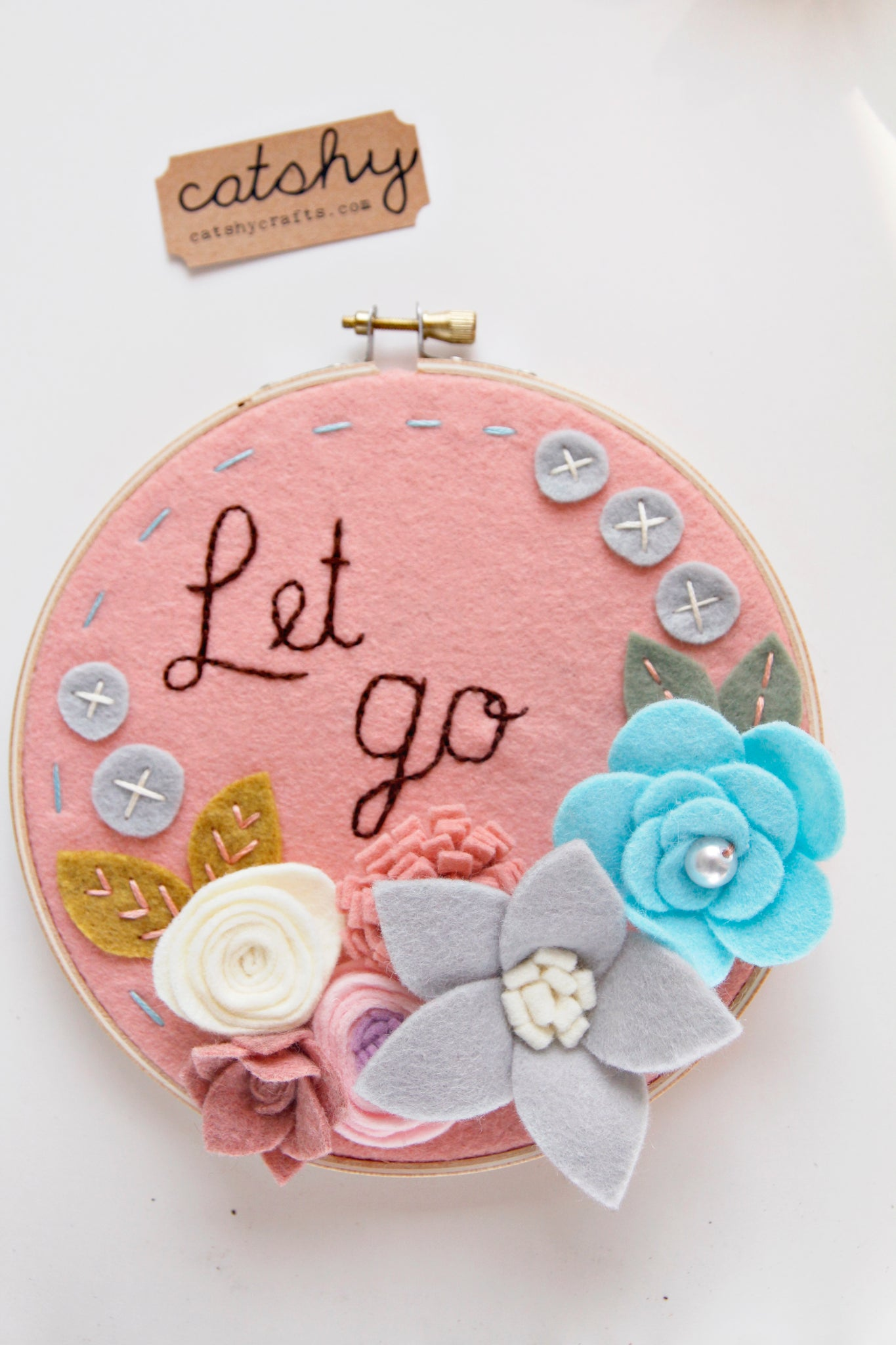 Let Go Felt Flower Hoop