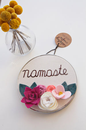 Namaste in Vintage Metal Embroidery Hoop Art
