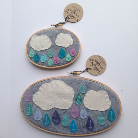 Ombre Blue Rain Cloud Embroidery Hoop Art