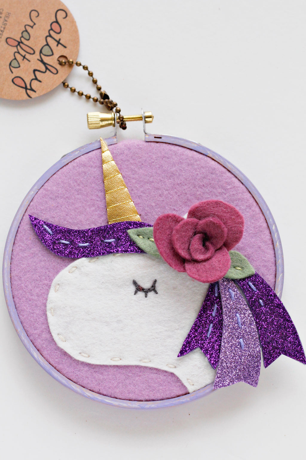 Purple Unicorn Embroidery Hoop Art with Mulberry Flower