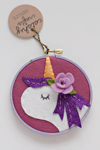 Purple Unicorn Embroidery Hoop Art