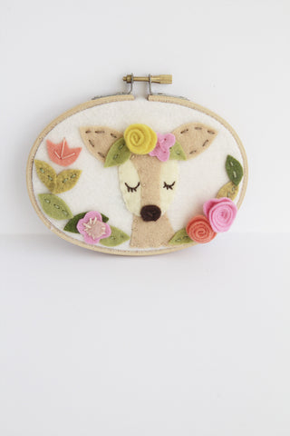 New! Meditating Deer with Flower Crown Wall Art
