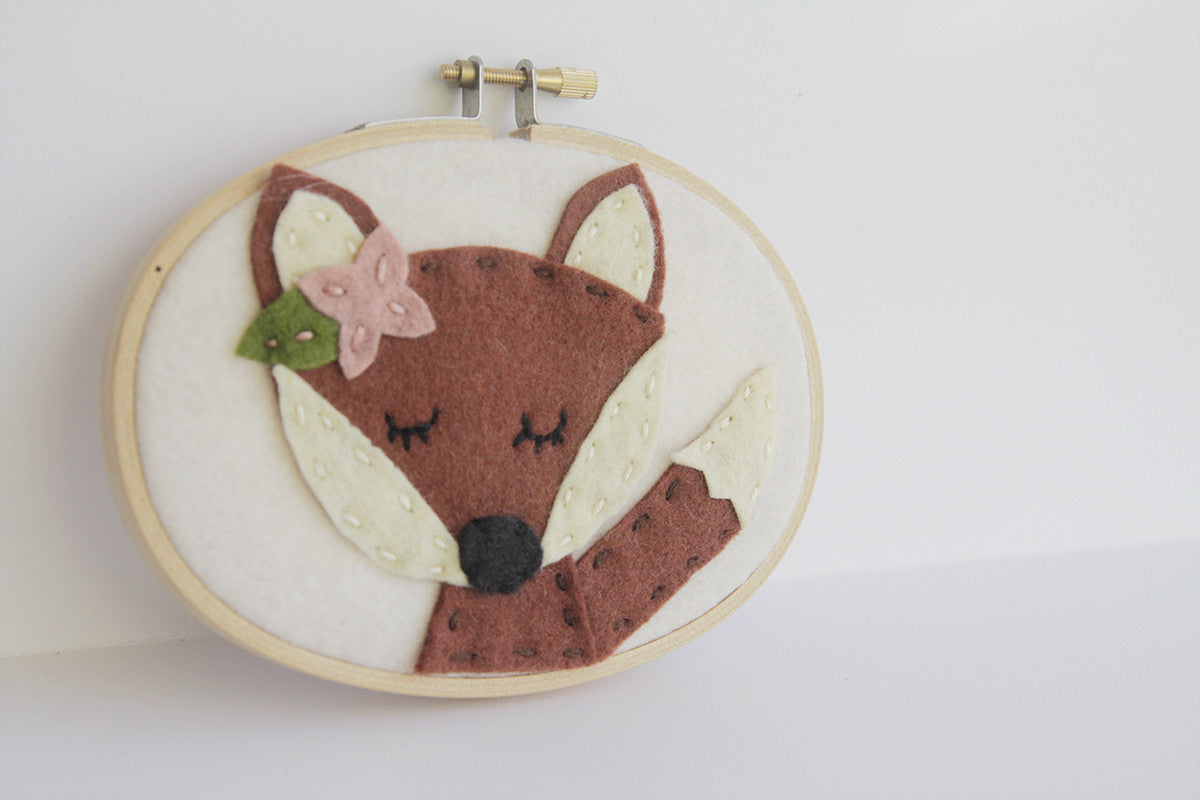 New! Meditating Fox with Flower Wall Art