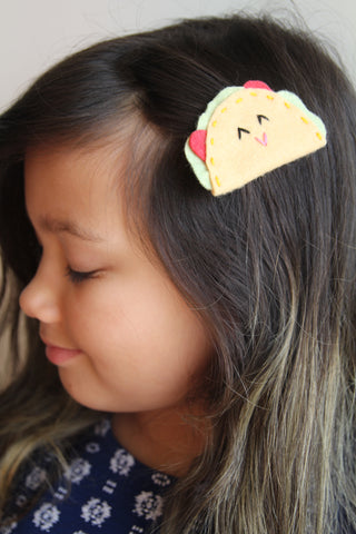 Set of TWO Felt Taco Hair Clips