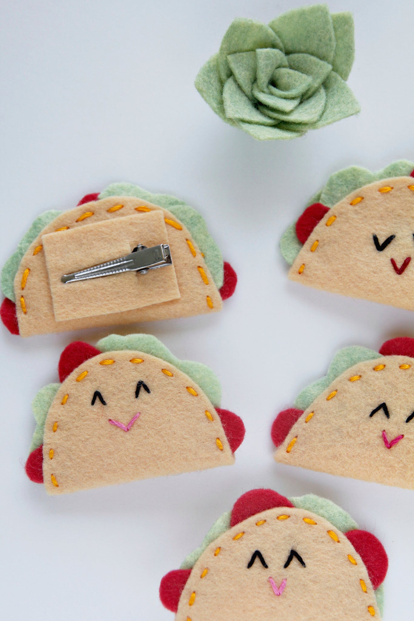 Set of 10 Taco Felt Hair Clips