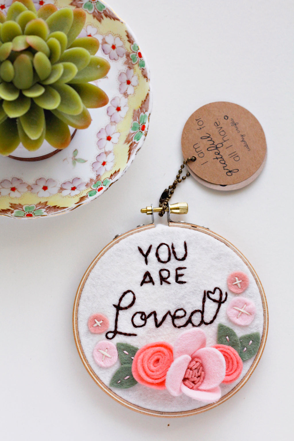 You Are Loved Embroidery Hoop Art  - 4 inch