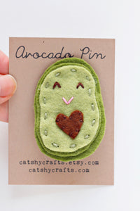 Felt Avocado Embroidered Pin