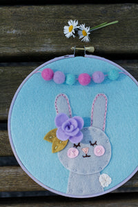 Bunny Party Embroidery Hoop Art