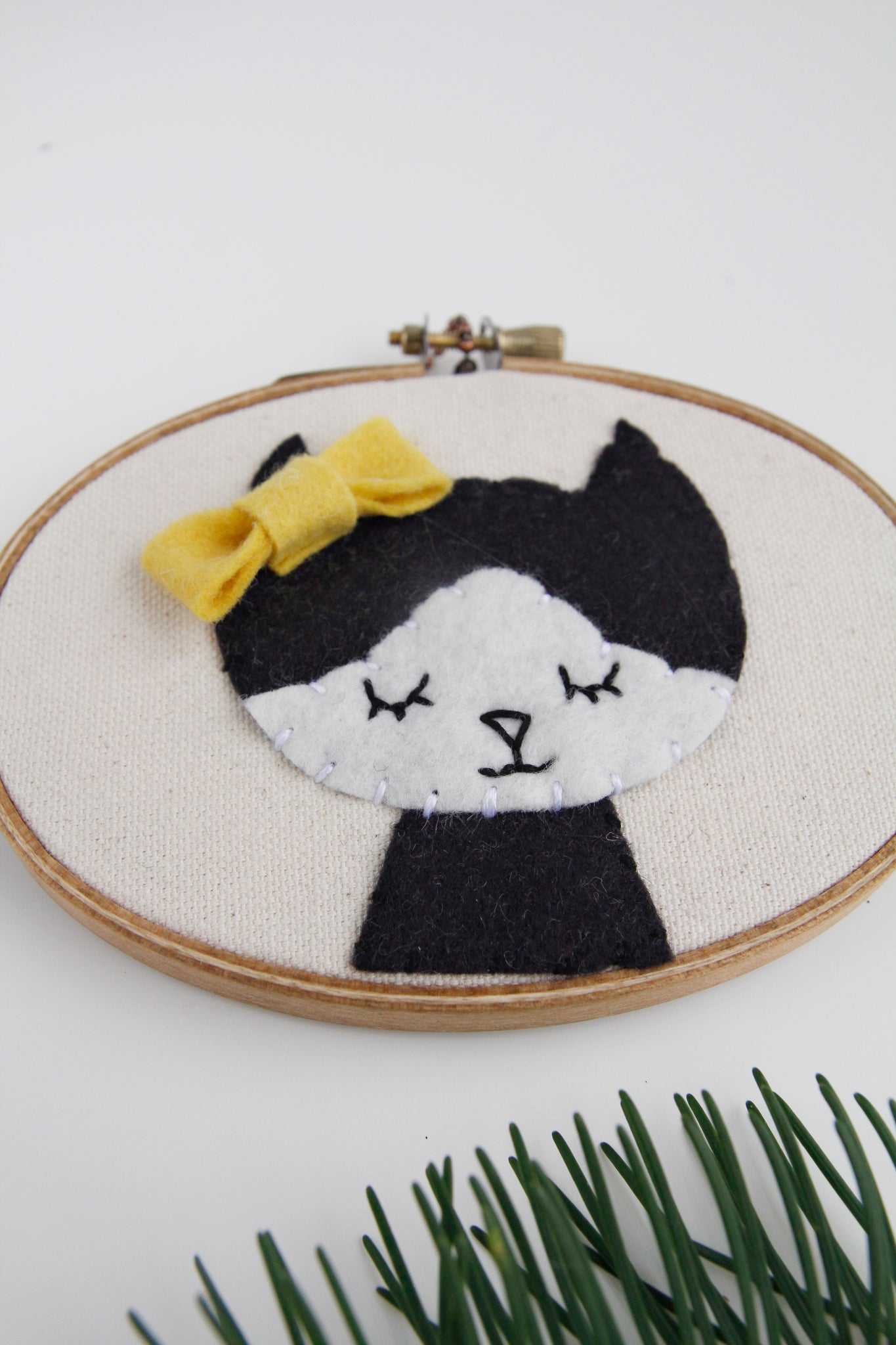 Tuxedo Cat with Bow Embroidery Hoop Art