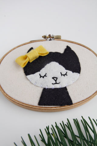 Cat with Bow Embroidery Hoop Art