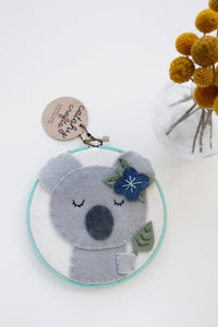 Felt Koala Embroidery Hoop Art with Eucalyptus in Turquoise Painted Hoop