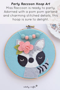 Racoon Party Embroidery Hoop Art