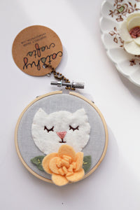 White Cat with Orange Flower Mini Embroidery Hoop Art