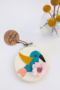 Hummingbird and Flower Hoop Art