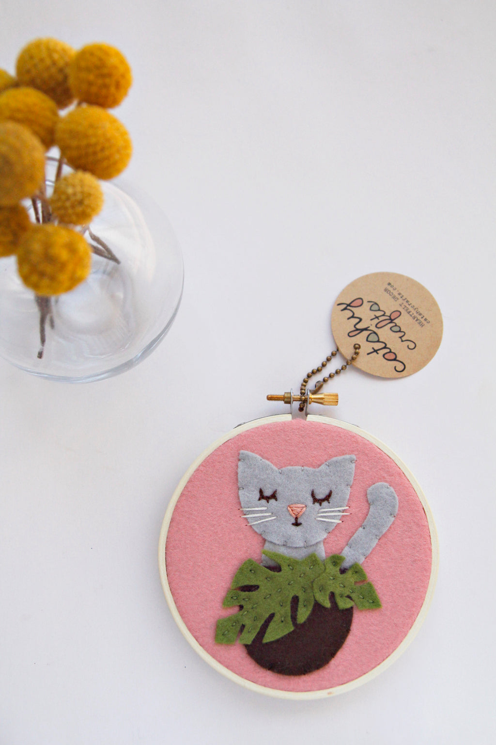 Gray Cat and Monstera Embroidery Hoop Art